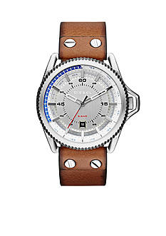 Diesel Men's Rollcage Brown Leather Three Hand Watch