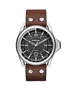 Diesel Men's Rollcage Silver And Brown Three Hand Watch