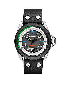 Diesel Men's Rollcage Black Leather Strap Three Hand Watch