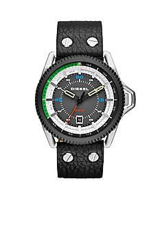Diesel Men's Rollcage Black Leather Strap Three Hand Watch