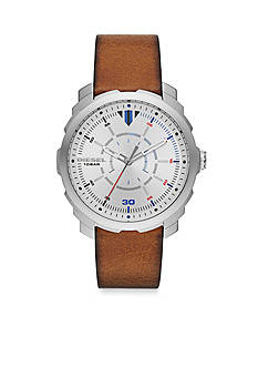 Diesel Men's Machinus Brown Leather Three Hand Watch