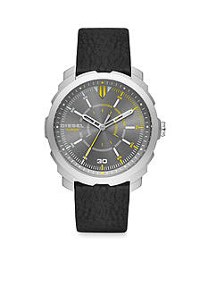 Diesel Men's Machinus Black Leather Gunmetal Dial Three Hand Watch