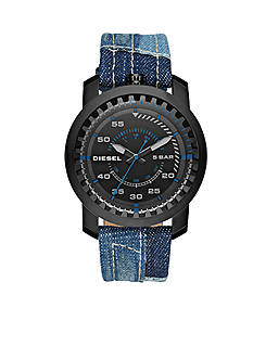 Men's Diesel Black IP Rig Black Dial Three-Hand Denim Watch