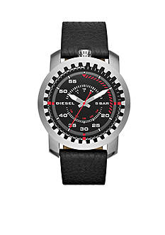 Men's Diesel Rig Black Leather Three-Hand Watch