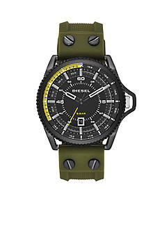 Diesel Men's Rollcage Black and Green Three Hand Watch
