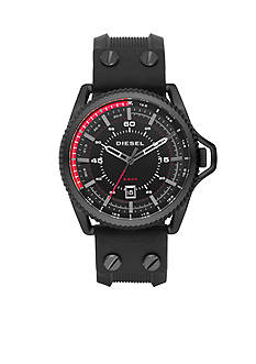 Diesel Men's Rollcage Black Silicone and Stainless Steel Three-Hand Watch