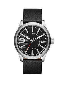 Diesel Men's Rasp Black Leather Watch