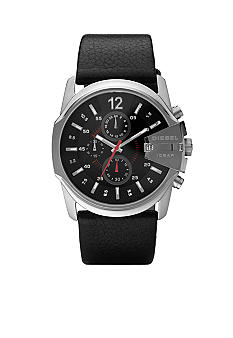 Diesel Men's Black Chronograph Round Dial Watch With Black Leather Strap