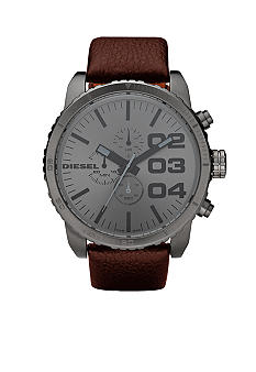 Diesel Men's Chronograph Round Gunmetal XL Dial with Brown Leather Strap Watch