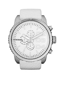 Diesel Men's White Chronograph Dial and White Leather Strap Watch