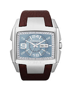 Diesel Men's Analog Stainless Steel Square Brown Leather Strap Watch