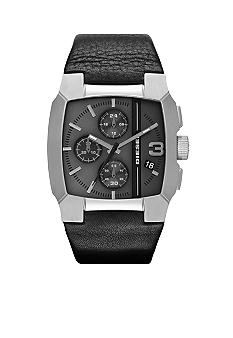 Diesel Black Leather and Gunmetal Stainless Steel Chronograph Watch