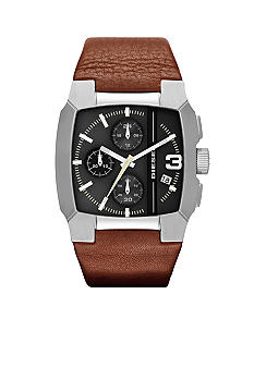 Diesel Light Brown Leather and Silver Tone Stainless Steel Chronograph Watch