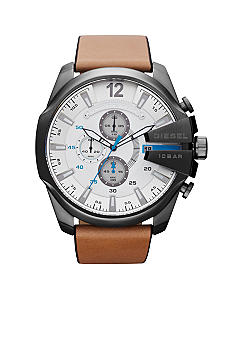Diesel Men's Gunmetal Stainless Steel and Tan Leather Chronograph Watch