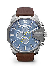 Diesel Men's Brown Leather Blue Dial Watch