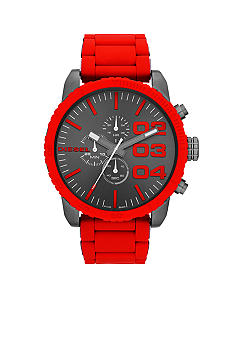 Diesel Men's Gunmetal Stainless Steel and Red Silicone Chronograph Watch