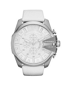 Diesel Men's Silver-Tone Stainless Steel and White Leather Chronograph Watch