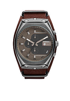 Diesel Men's Gunmetal Stainless Steel and Brown Leather Chronograph Watch
