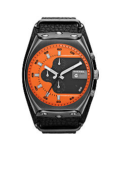 Diesel Men's Gunmetal Stainless Steel and Black Leather Chronograph Watch