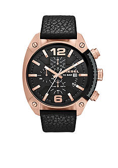 Diesel Men's Black Leather and Rose Gold-Tone Stainless Steel Chronograph Watch