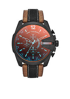 Diesel Men's Brown and Black Leather with Black Stainless Steel Chronograph Watch