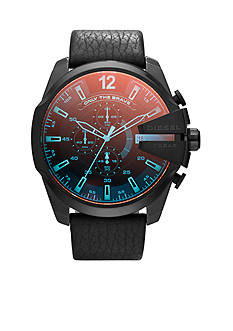 Diesel Men's Black Leather and Iridescent Dial Master Chief Watch