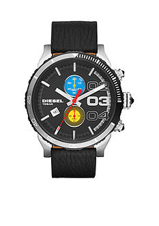 Diesel Men's Black Leather Double Down Series Chronograph Watch