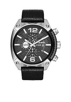 Diesel Overflow Black Leather Strap Chronograph Watch