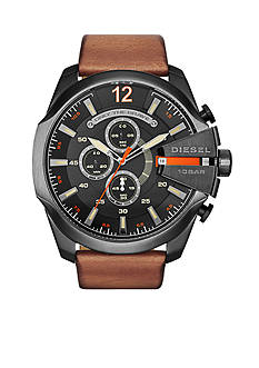 Diesel Mega Chief Light Brown Leather Strap Chronograph Watch