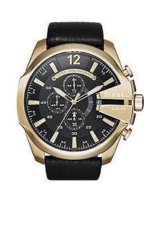 Diesel Mega Chief Black Leather Chronograph Watch