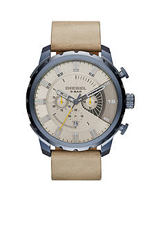 Diesel Stronghold Chronograph Light Brown Leather Blue IP Watch