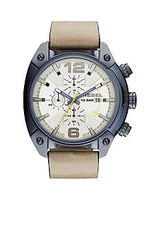 Diesel Men's Overflow Chronograph Light Brown Leather Blue IP Watch