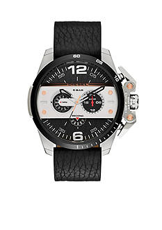 Diesel Men's Ironside Silver-Tone And Black Leather Chronograph Watch