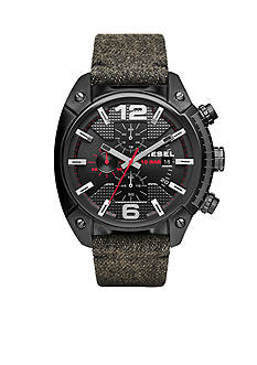 Diesel Men's Overflow Black on Black Denim Chronograph Watch