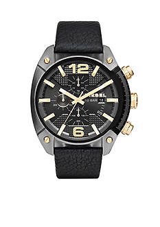 Diesel Men's Overflow Black Leather Chronograph Watch