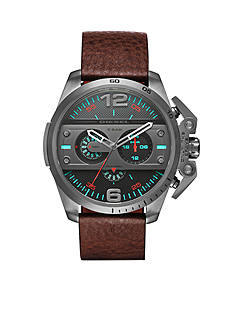 Men's Diesel Ironside Brown Leather Chronograph Watch