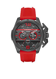 Men's Diesel Ironside Red Silicone Chronograph Watch