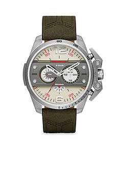 Diesel Men's Ironside Green Canvas and Brown Leather Chronograph Watch