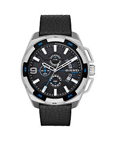 Diesel Men's Heavyweight Black Leather Strap Watch