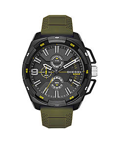 Diesel Men's Heavyweight Green Silicone and Stainless Steel Chronograph Watch