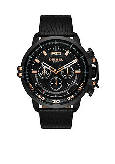 Diesel Men's Deadeye Rose Gold-Tone and Black Leather Watch