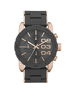 Diesel Grey Silicone and Rose Gold Tone Stainless Steel Chronograph Watch