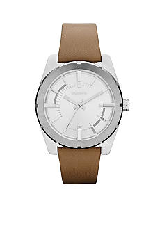 Diesel Ladies Silver-Tone Stainless Steel and Nude Leather Watch