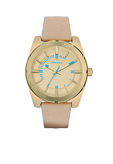 Diesel Ladies Nude Leather and Gold Tone Stainless Steel Three-Hand Watch