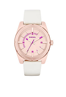 Diesel Ladies Cream Leather and Rose Gold Tone Stainless Steel Three-Hand Watch