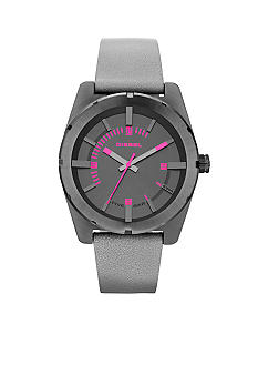 Diesel Ladies Grey Leather and Grey Stainless Steel Three-Hand Watch
