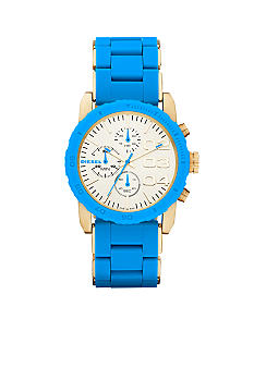 Diesel Ladies Gold Tone Stainless Steel and Blue Silicone Chronograph Watch