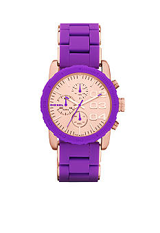 Diesel Ladies Rose Gold Tone Stainless Steel and Purple Silicone Chronograph Watch