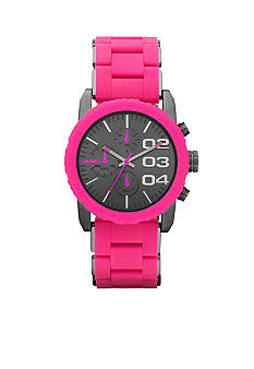 Diesel Ladies Gunmetal Grey Stainless Steel and Pink Silicone Chronograph Watch