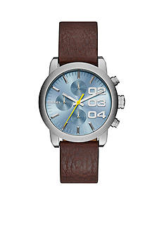 Diesel Men's Flare Chronograph Brown Leather Watch